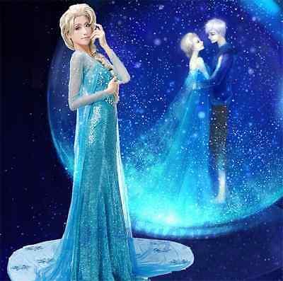 Frozen Adult Queen Princess Elsa Halloween Dress Costume Cosplay Party Dress