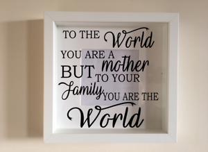 A mothers love is the heart of the family Mothers Day Box Frame Sticker Ribba