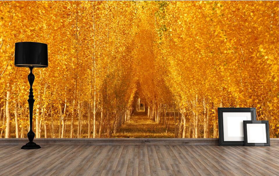 3D Golden Woods Paper Wall Print Wall Decal Wall Deco Indoor Wall Murals