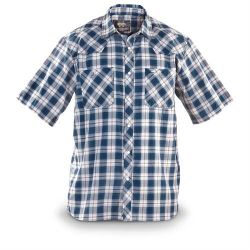 Guide Gear Men/'s Western Shirt Short Sleeve Red Indigo Rodeo Farm Plaid Shirt