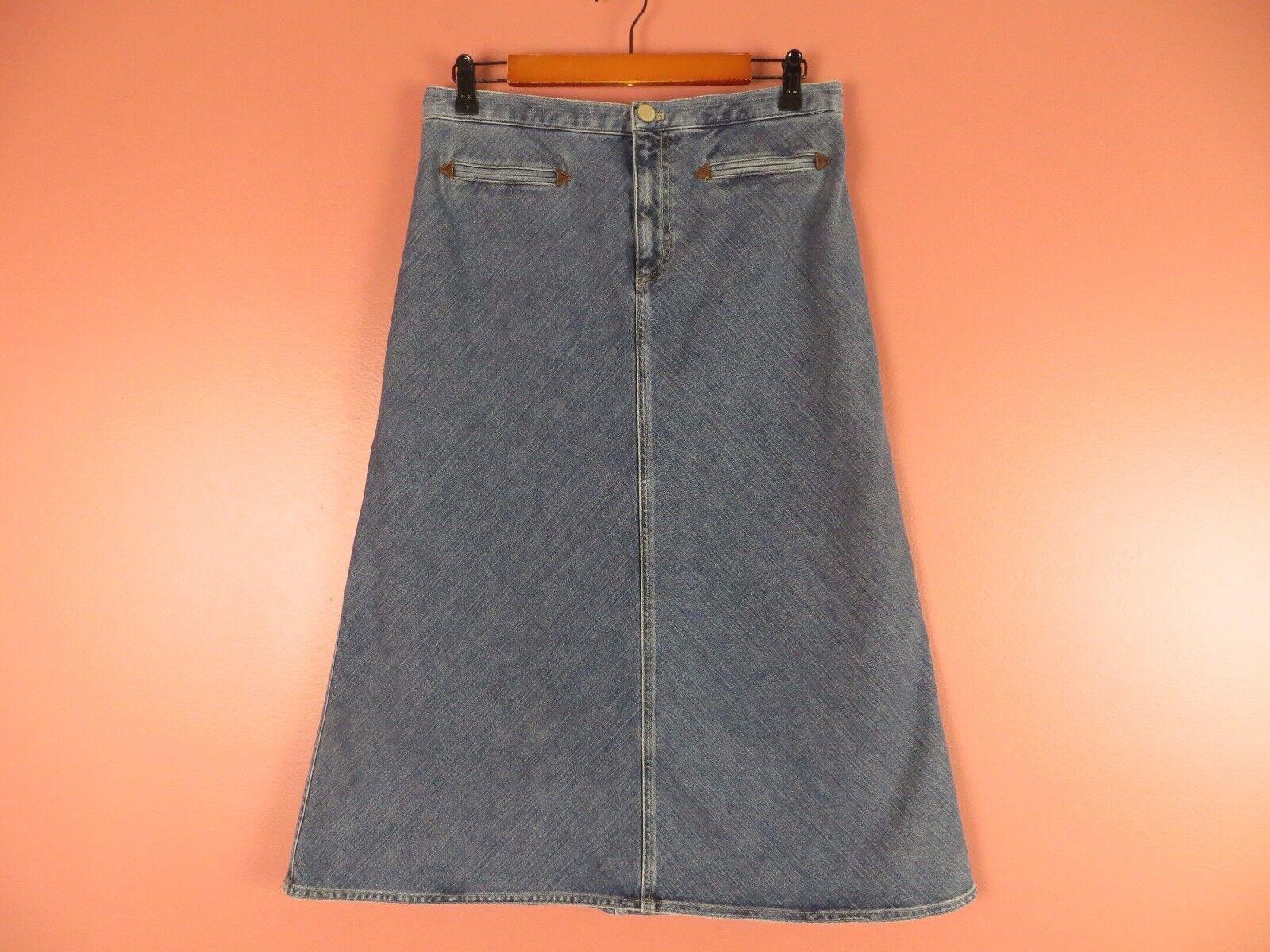 SK06480- JONES NEW YORK Woman 80% Cotton Denim Jean Full Skirt Dim bluee Sz 10