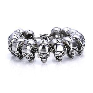 Men-039-s-316L-Stainless-Steel-Bracelet-Biker-Skull-Chain-Bangle-Punk-Silver-Link