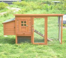 "DELUXE 62"" Rabbit Hutch Poultry Cage Bunny Chicken Coop Guinea Pig Ferret Hen"