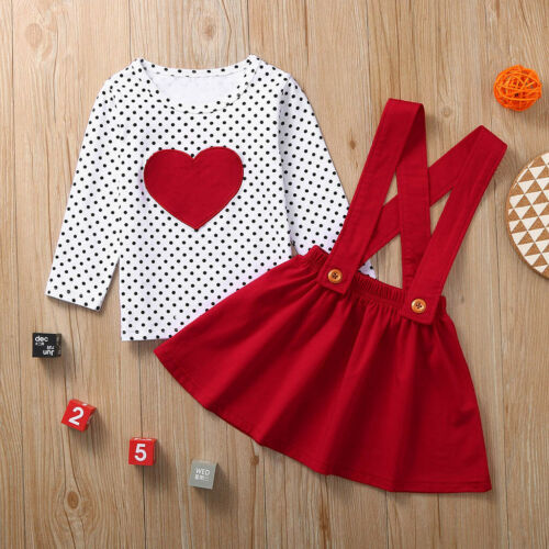 UK STOCK Toddler Baby Girls Valentine/'s Day Heart Print Tops Dress Outfits 1-6Y