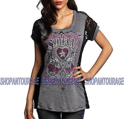 Sinful Pistola Del Sol S3559 New Short Sleeve Graphic T-shirt Top By Affliction