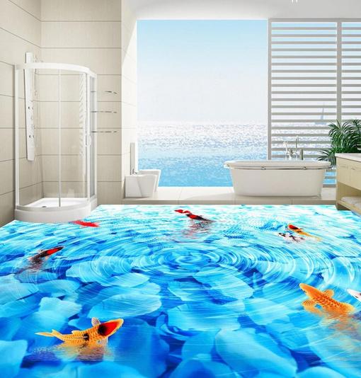 3D Ripples Fish Pond 74 Floor WallPaper Murals Wall Print Decal AJ WALL CA Lemon