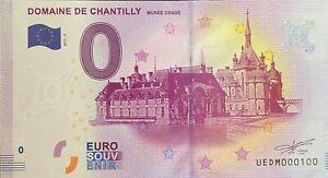 BILLET-0-EURO-DOMAINE-DE-CHANTILLY-MUSEE-CONDE-FRANCE-2017-NUMERO-100