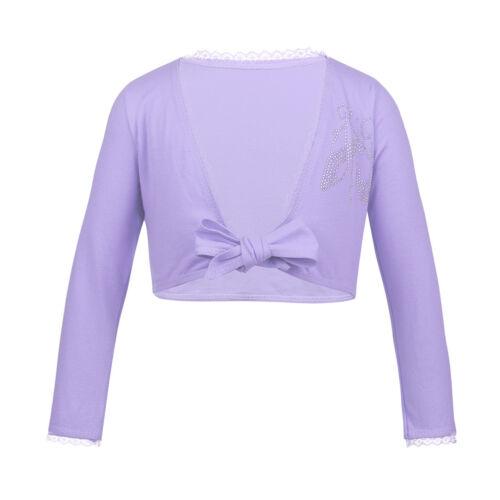 Girls Ballet Dance Shrug Wrap Tops Kids Gym Ballroom Knit Sweater Short Cardigan