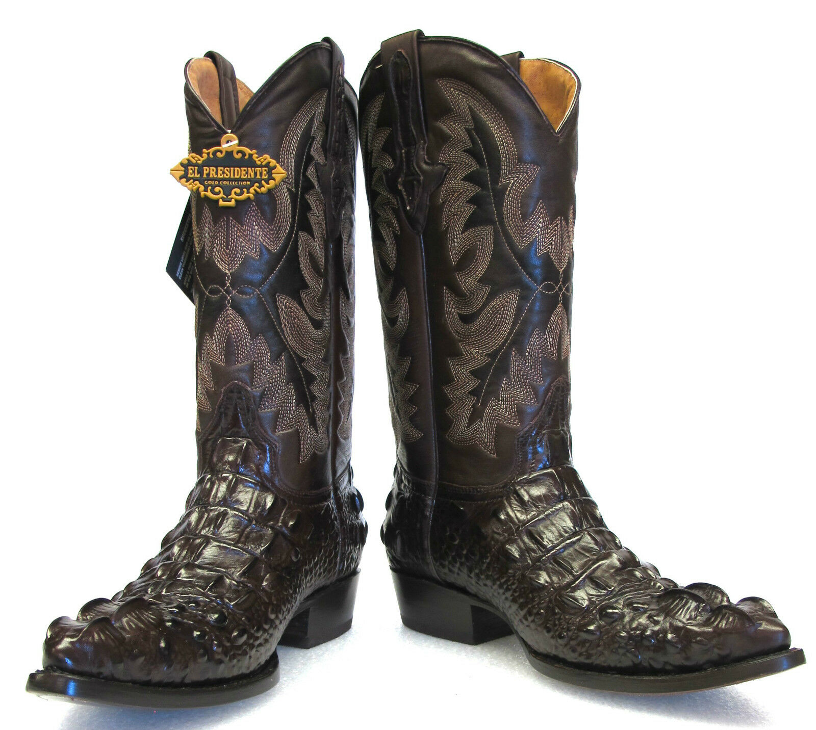 Men's Crocodile Alligator Head Design Leather Cowboy Western J Toe Boots Brown