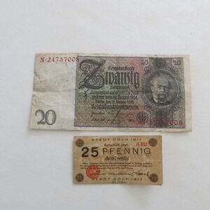 2o-Reichsmarks-German-banknote-amp-25-Pfennig-Stadt-Coln-1917