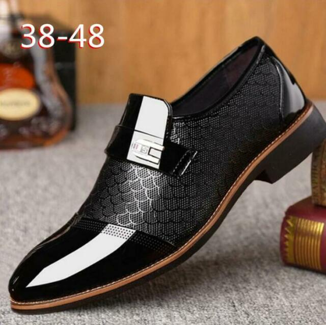 Black Leather Mens Shoes UK 9 EU 43