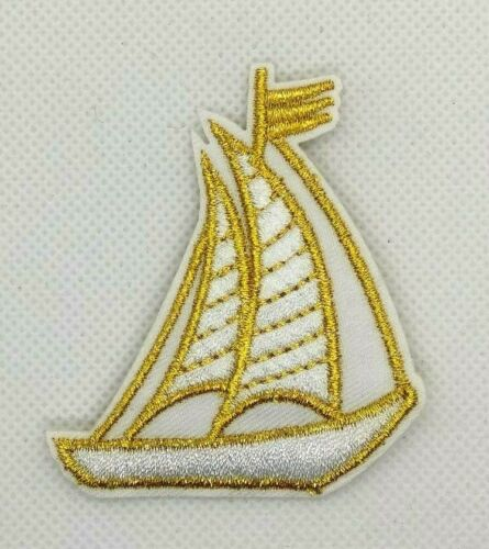new Sailboat white gold Iron On Embroidered Patch Sailing Ocean Sea 387