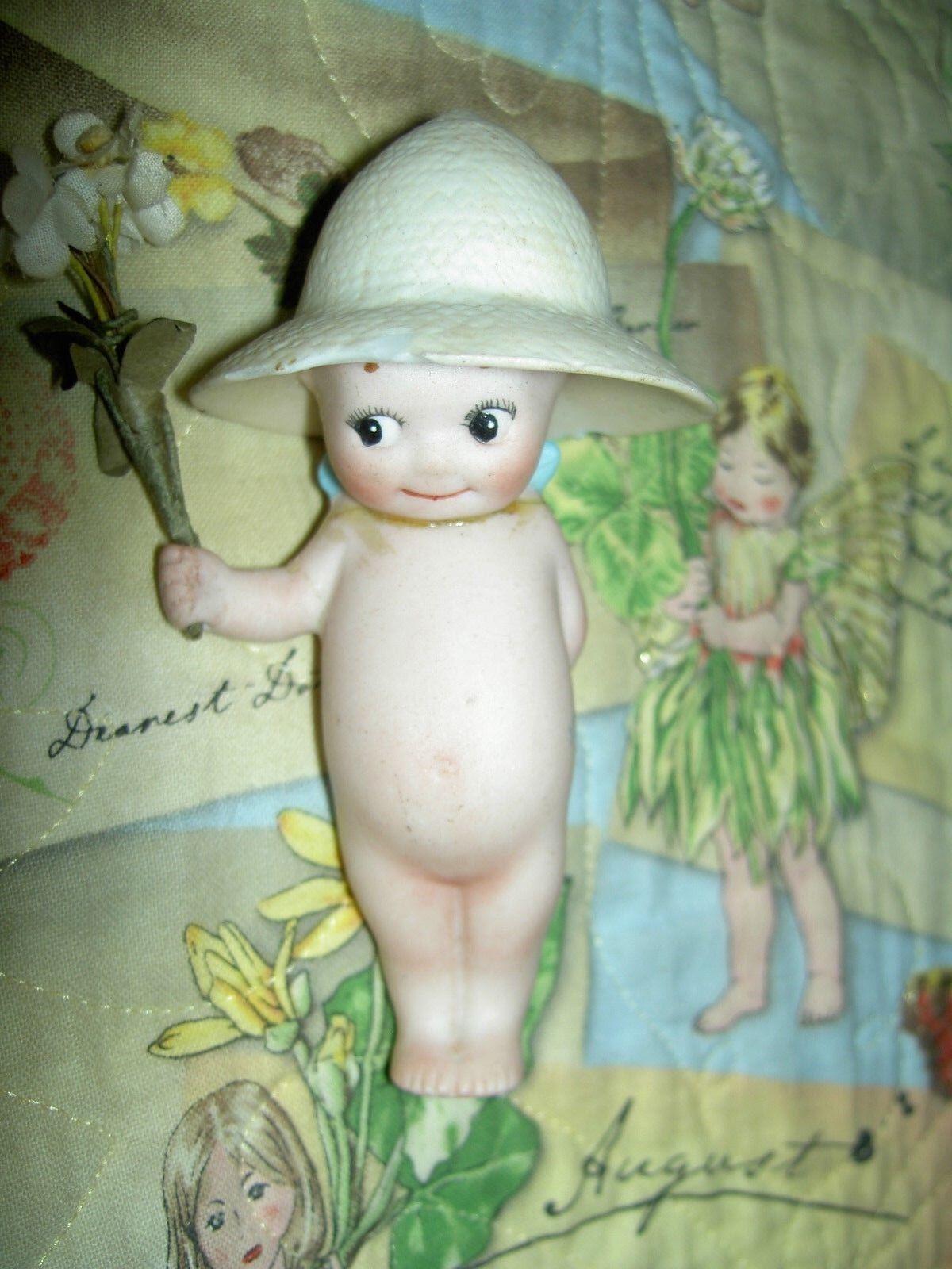 Raro Antiguo Alemán todos Bisque, rosado O 'Neill Kewpie jardinegro Figura Muñeco  tal cual
