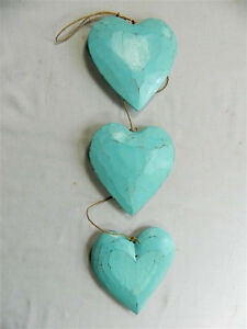 Pleasant Details About Wooden Hanging Heart Wall Art String Of 3 Shabby Chic Hearts Duck Egg Blue Home Interior And Landscaping Ponolsignezvosmurscom