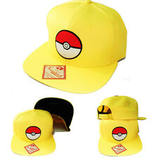 Pokemon Yellow Ball Cartoon Snapback Hat Flat Bill Video Game TV Show Youth Cap