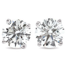 1.50 Ct Round Cut Natural Diamond Studs in 14K White or Yellow Gold