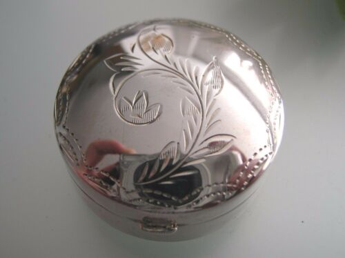 Sterling Silver big round pill box in vintage style with plant engraving design