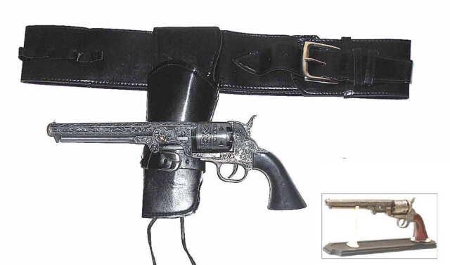 Authentic Left Hand 1851 Metal Pistol & Holster Set + FREE Pistol Stand