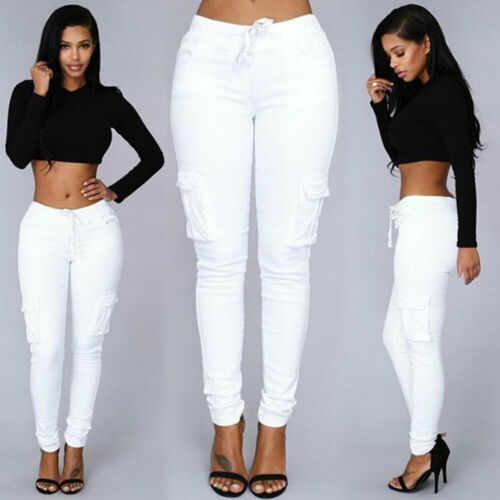 A31A Cotton Casual Jean Lady Party Home Long Pants Outdoor Women Women Trousers