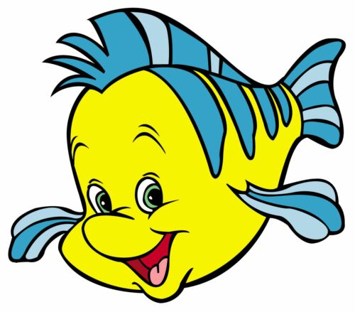 Disney little mermaid heat transfer iron on flounder fish 3 to 9.5 inch