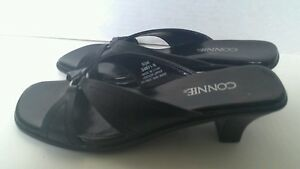 Connie  Leather Sandals 5 1/2M Black Giggle Strappy Slides Heels