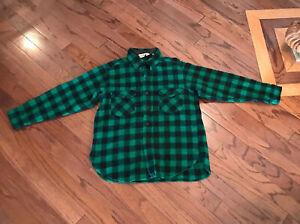 Vtg-LL-BEAN-Wool-Flannel-Shirt-XL-USA-work-wear-Hunting-jacket-GREEN-BLACK
