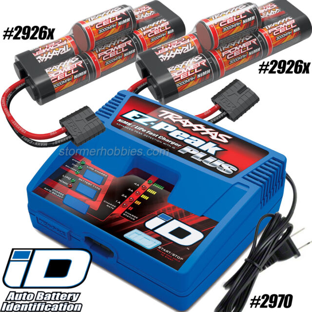 Traxxas EZ-Peak Plus Charger 2970, (2) 2926X 8.4V 3000mAh Batterys For ~SLASH~