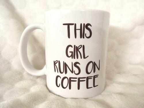 This Girl Runs on Coffee 11oz Ceramic Mug Office Mug Birthday Gift Xmas Fathers