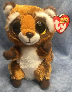 61fd52fc2b0 w-f-l Ty Beanie Rusty Raccoon 5 7 8in Glitter Eyes Boos Glubschi ...
