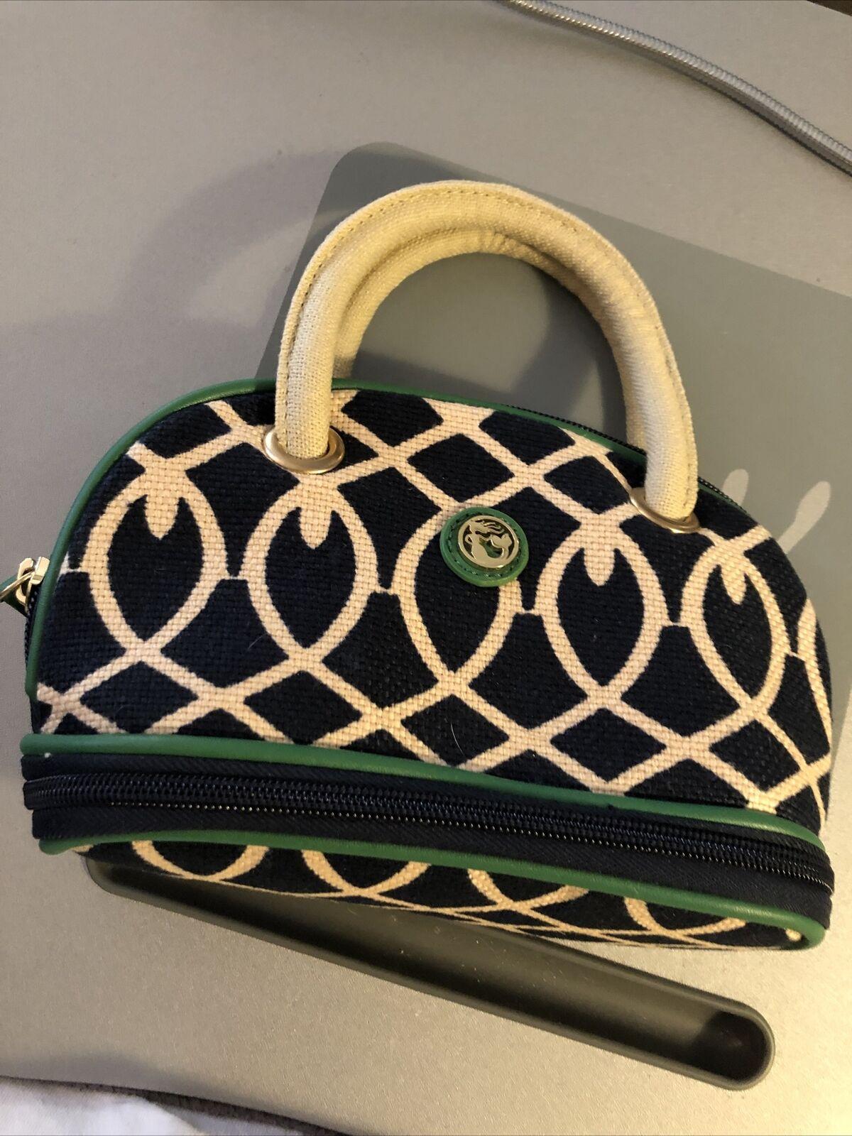Spartina Mini Satchel Cosmetic Bag Linen Leather Makeup Case Navy Green Lattice
