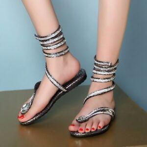 New Fashion Damenschuhe Flat Heel Rhinestone Bling Rhinestone Heel slingbacks gladiator ea9cbb