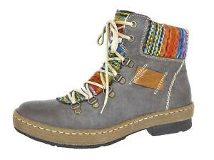Details zu Rieker Damen Schuhe Boots Stiefel Winterstiefel Grau Gr 37