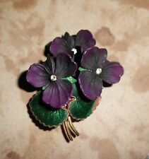 VTG* VIOLET FLOWER NOSEGAY BROOCH PIN; Deep Purple Enamel w Yellow Rhinestones