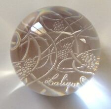 Authentic Rare LALIQUE Floral Ornate Flower Clear Crystal Paperweight Brand New