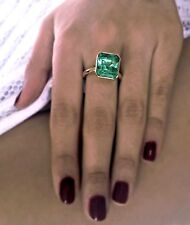 6.80cts AAA+ VS NATURAL COLOMBIAN EMERALD SOLITAIRE RING 18K YELLOW GOLD~WOW!