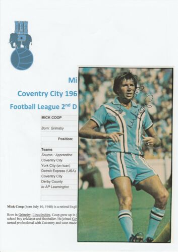 MICK COOP COVENTRY CITY 19661979 & 197981 ORIGINAL HAND SIGNED PICTURE CUTTING