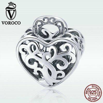 Voroco Endless Love 925 Sterling Silver Charm Heart Pendant For Bracelet Jewelry