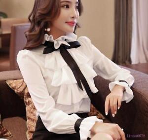 Womens-Spring-Shirt-Corrugated-Edge-Blouse-Chiffon-Y5-Top-Tie-Shirt-Long-Sleeve