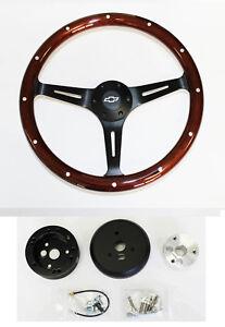 Blazer-C10-C20-C30-Pick-Up-15-034-Wood-Steering-Wheel-on-Black-Spokes-Bowtie-Cap