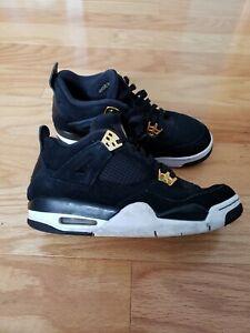 online store 14574 ade00 Details about Nike Air Jordan 4 Retro Royalty IV Black Suede Metallic Gold  308497-032 Sz 7