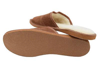 Natural De Gamuza De Cuero Y Lana De Oveja marrón para hombre Zapatillas Zapatos Mula