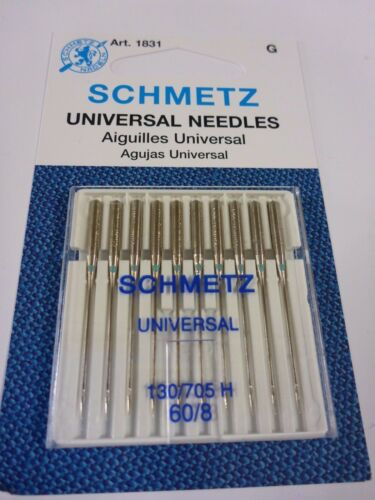 10 SCHMETZ UNIVERSAL 60//8 Domestic Sewing Machine Needles Janome Singer Elna