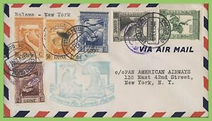 Portuguese-Guinee-1941-First-Flight-cover-Boloma-to-New-York-with-cachet
