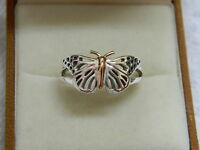 Clogau Silver & 9ct Welsh Gold Butterfly Ring Size N Rrp £139.00