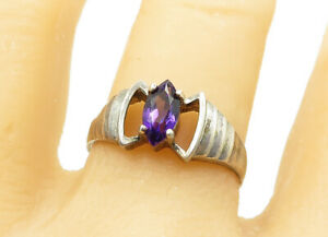 925-Sterling-Silver-Vintage-Marquise-Cut-Amethyst-Band-Ring-Sz-9-R11788