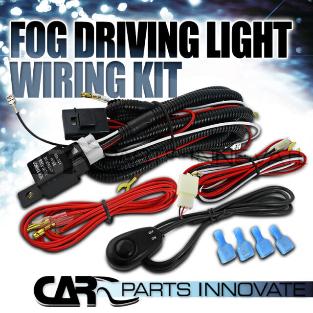 Fog Driving Light Lamp Full Wire Harness Kit w/ Wiring Switch Relay Fuse