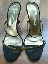 MANOLO BLAHNIK black satin metallic copper embroidered heels slides shoes sz 38