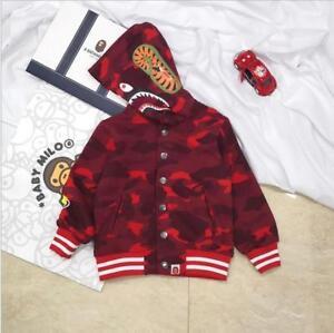 Fashion New A Bathing Ape Bape Camo Shark Mouth Kids Long Sleeve Jacket Coat