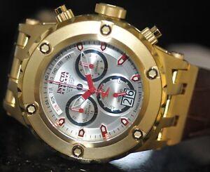 Invicta-Men-039-s-Rare-Subaqua-Swiss-Reserve-Chrono-Silver-Dial-Leather-Watch-11869