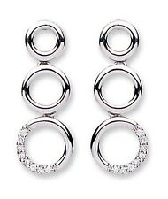 9ct White Gold 0.08ct Real Diamond Circle Drop Earrings